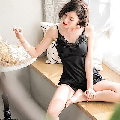 附襯~緞面蕾絲花邊兩件式睡衣-OB大尺碼