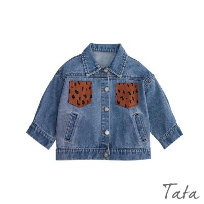 童裝 拼接豹紋口袋牛仔外套 TATA KIDS