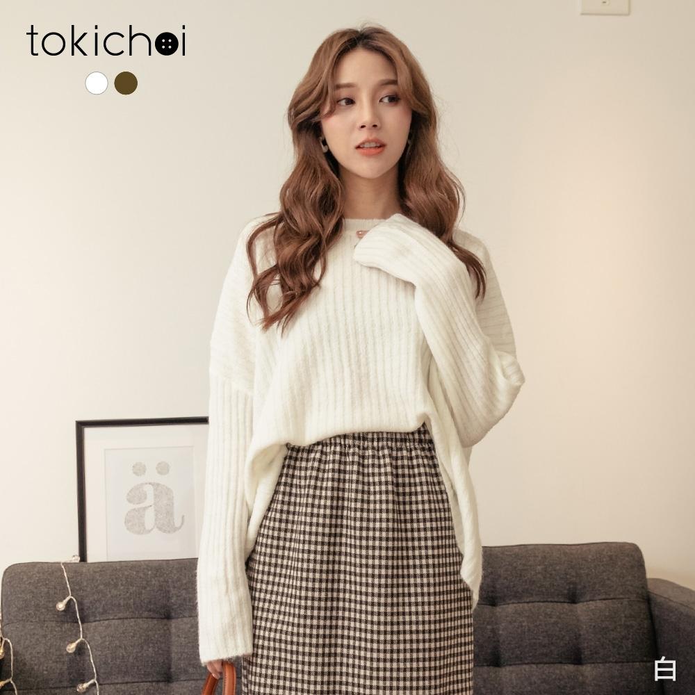 東京著衣 休閒甜美圓領落肩坑條磨毛寬鬆上衣