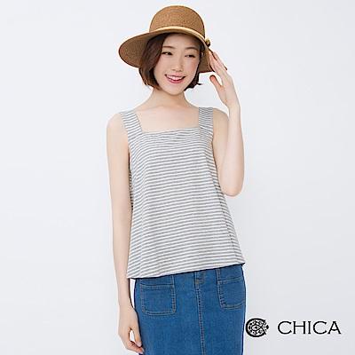 CHICA 清新仲夏經典條紋寬肩背心(2色)