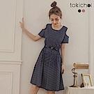 東京著衣 輕甜挖肩縮腰口袋細條紋洋裝-S.M(共二色)