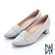 DN跟鞋_MIT素面壓紋金屬線條裝飾真皮粗跟鞋-灰 product thumbnail 1