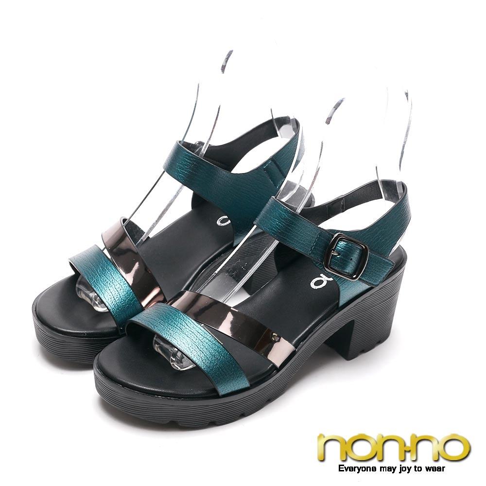 nonnon 碧藍優雅 清涼高跟涼鞋 藍