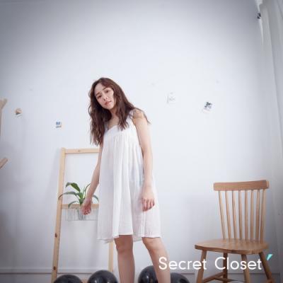 Secret Closet-純色棉麻細帶無袖上衣-白色