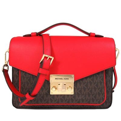MICHAEL KORS Rose 金色鎖頭滿版MK搭配皮革雙色兩用郵差包(西班牙紅)