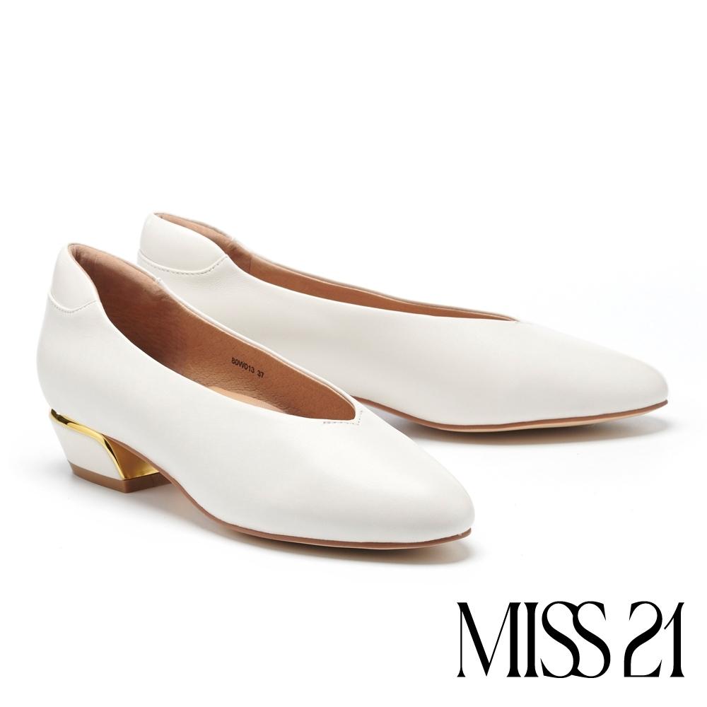 低跟鞋 MISS 21 復古奶奶風極簡舒適羊皮粗低跟鞋-白