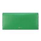 agnes b. 燙金logo滑皮革長夾(綠)