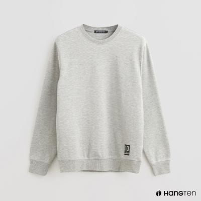 Hang Ten - 男裝 - 簡約風素面圓領長袖上衣 - 灰