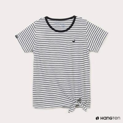 Hang Ten-女裝-有機棉鯨魚刺繡下擺綁結條紋短袖T恤-黑白條紋