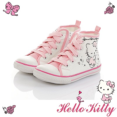 HelloKitty童鞋 少女系列 輕量減壓休閒高筒帆布鞋-白