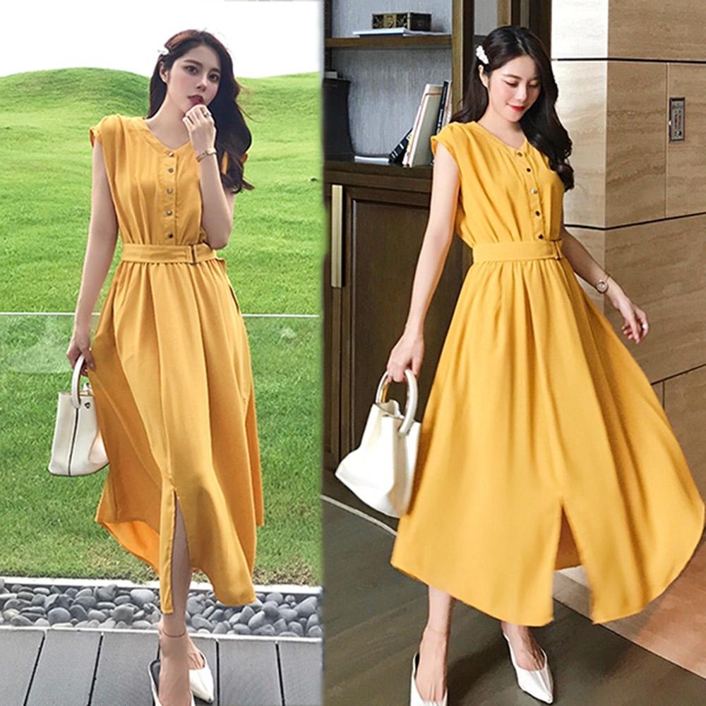 【韓國K.W.】賣瘋了英倫街拍素面洋裝-3色