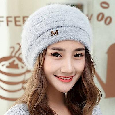 梨花HaNA獨家打版M字母加絨加厚毛帽貝蕾帽