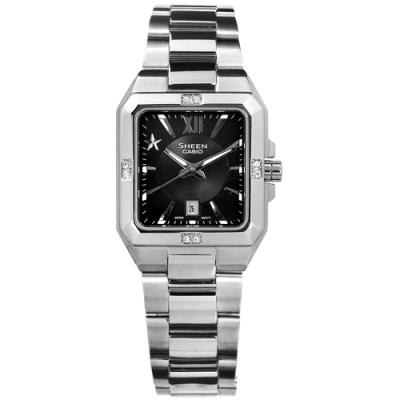 SHEEN CASIO 卡西歐方型星光羅馬 施華洛世奇日期 夜光不鏽鋼手錶-黑色/27mm