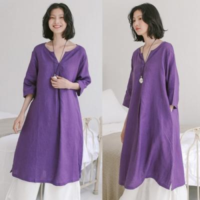 洋裝-純亞麻V領氣質紫中長版長袖寬鬆棉麻-設計所在