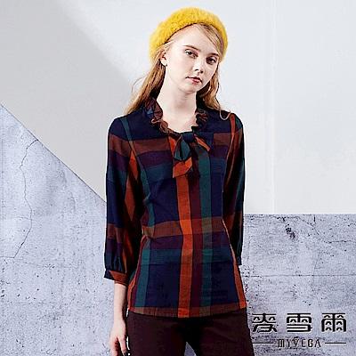 【麥雪爾】純棉荷葉大地格紋七分袖上衣