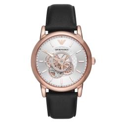 EMPORIO ARMANI 時光齒輪機械腕錶-黑X玫瑰金(AR60013)42mm