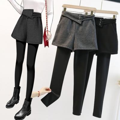 韓版加絨加厚假兩件龍鳳呢靴褲L-4XL(共二色)KVOLL
