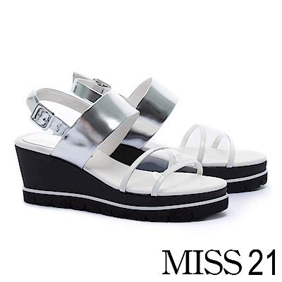涼鞋 MISS 21 潮感透明一字帶膠片平紋牛皮楔型涼鞋-白