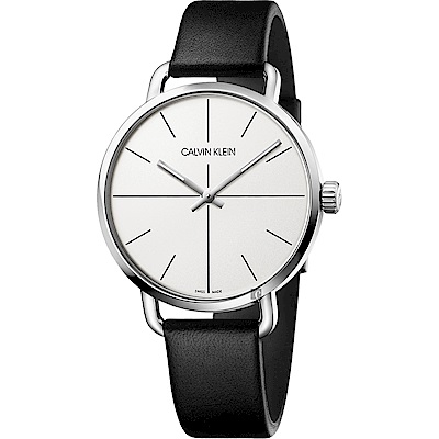 Calvin Klein CK Even 超然系列十字線手錶-銀x黑/42mm