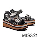 涼鞋 MISS 21 個性造型寬帶鋸齒邊設計一字帶羊皮厚底涼鞋-古銅