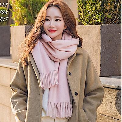 梨花HaNA 冬日極暖手感黃金絨SKY純色系列圍巾-BABY粉