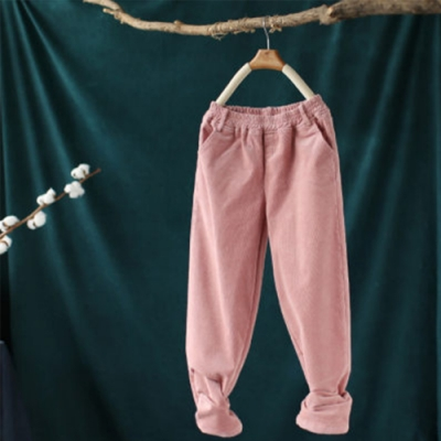 軟糯溫和素色加絨燈芯絨寬鬆長褲-設計所在
