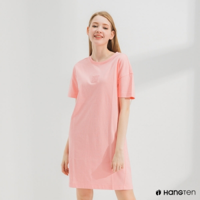 Hang Ten-女裝-環保纖維厚磅胸前刺繡洋裝-粉色