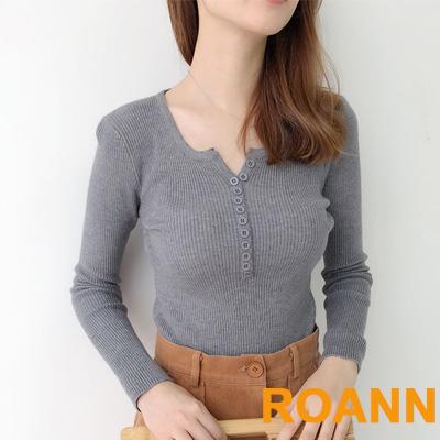 小清新V領坑條紋拼接鈕扣針織上衣 (共三色)-ROANN