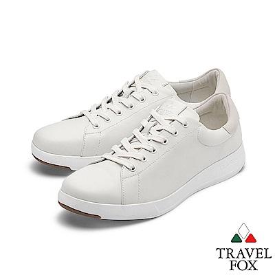 TRAVEL FOX(女) 輕雲系列 超軟牛皮輕量舒適運動鞋 - 月暈白