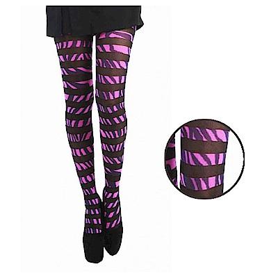 摩達客 英國進口義大利製Pamela Mann  粉紅斑馬個性設計彈性褲襪絲襪