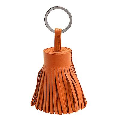 HERMES 經典流蘇造型Milo小羊皮鑰匙圈手袋吊飾(橘色)
