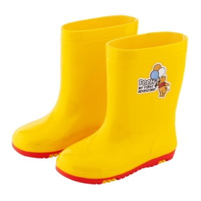 迪士尼童鞋 小熊維尼 趣味造型中筒雨鞋-黃