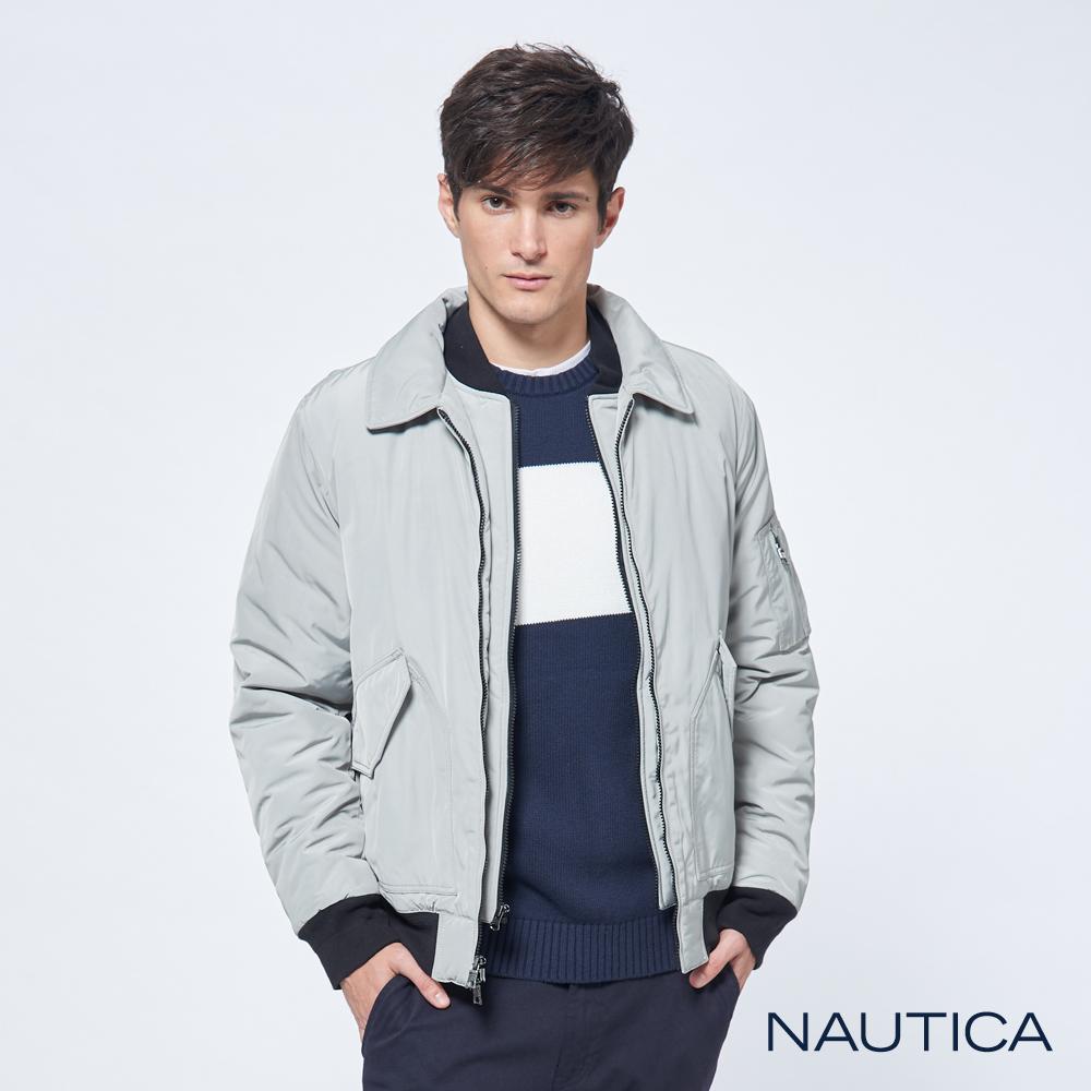 Nautica立領防水雙層拉鍊保暖夾克-淺灰