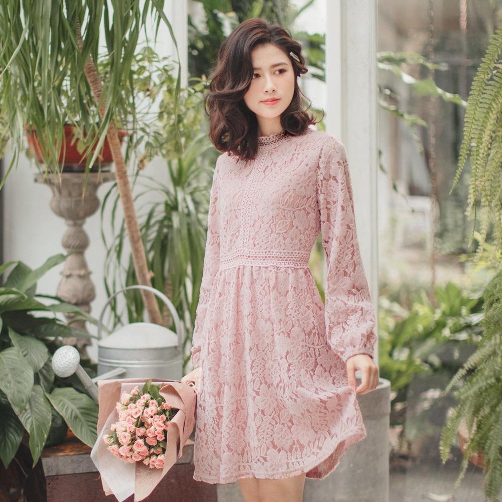 滿版細緻磨毛蕾絲公主袖洋裝-OB大尺碼