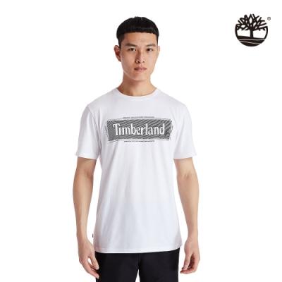 Timberland 男款白色LOGO圖騰短袖圓領T恤 A29RM