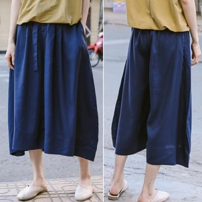 休閒褲-高端天絲高腰寬管七分薄版褲裙-設計所在