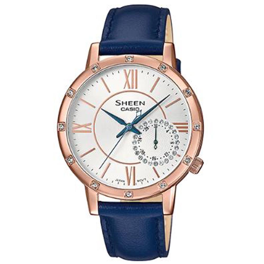 SHEEN 施華洛世奇日曆鑽圈設計皮帶腕錶(SHE-3046GLP-7C)藍/34mm