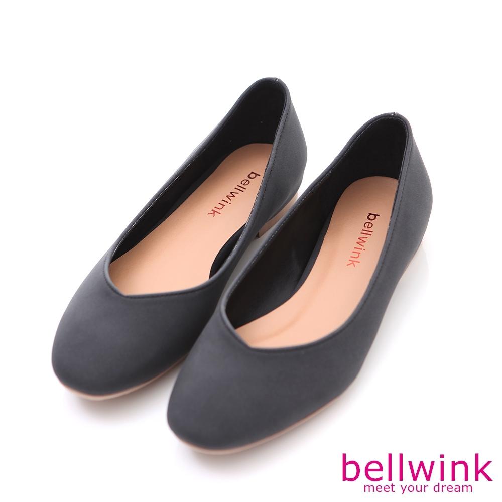 bellwink-圓方弧形頭平低包鞋-黑-b9704bk