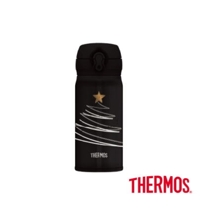 THERMOS膳魔師 優雅金星 超輕量不鏽鋼真空保溫瓶0.35L(JNL-352CM)-黑
