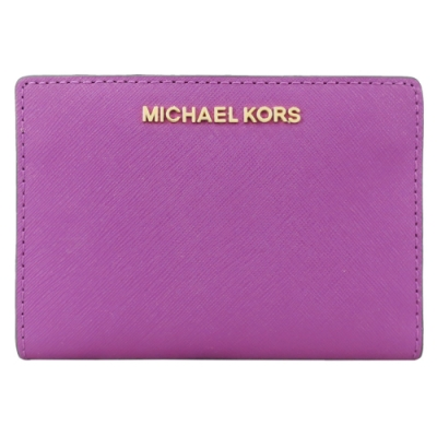 MICHAEL KORS JET SET 防刮卡片零錢短夾-紫紅