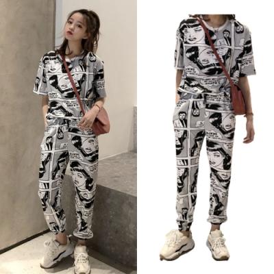 【韓國K.W.】(預購) 時尚美式塗鴉套裝褲(共1色)