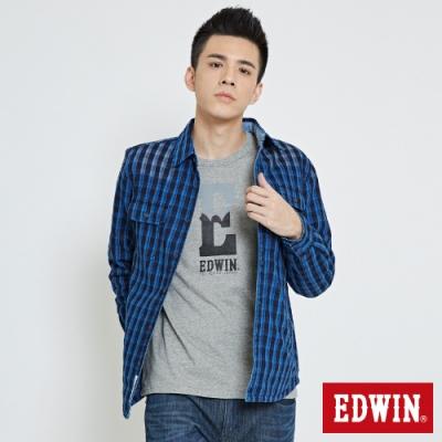 EDWIN 防寒格紋長袖襯衫-男-拔洗藍