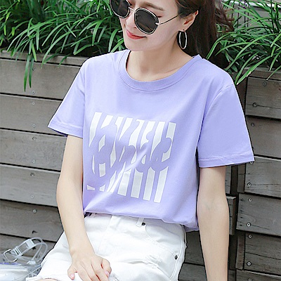初色  時尚印花短袖上衣-淺紫色-(M-2XL可選)