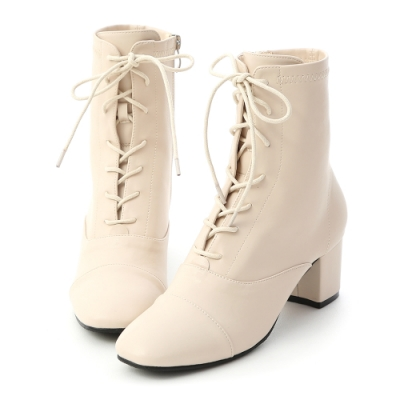 D+AF 優雅宣言.綁帶設計方頭中跟短靴*米