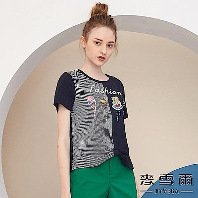 【麥雪爾】棉質童趣印花拼接條紋上衣