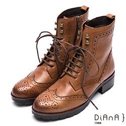 DIANA 英倫街頭-個性潮流復古擦色牛津短靴-棕