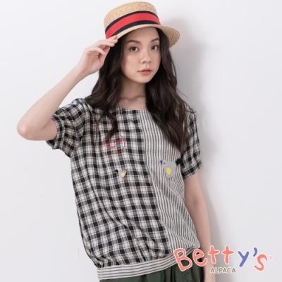betty's貝蒂思 鄉村風格紋拼布條紋上衣(黑色)
