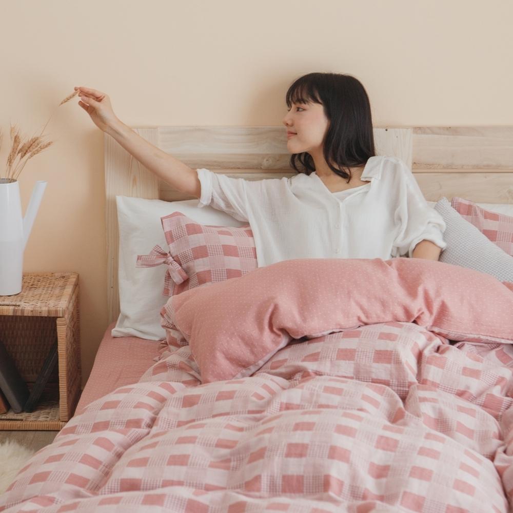翔仔居家 台灣製 頂級長絨棉 色織雙層紗系列 薄被套&床包3件組-野櫻粉 (單人)