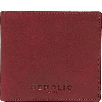 OBHOLIC 紅色牛皮男士錢包皮夾短夾(相框款)