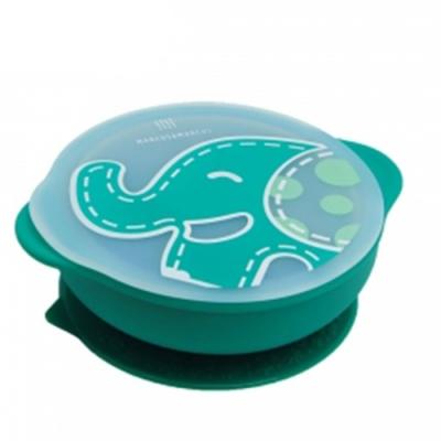 【MARCUS&MARCUS】動物樂園幼兒自主學習吸盤碗含蓋-大象(綠)